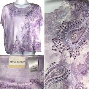 Alfred Dunner Purple Blouse Top Plus 3X Paisley